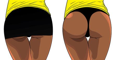 Sexy mujer botín. Estilo de vida de la aptitud del extremo del muchacho. Ilustración de vector