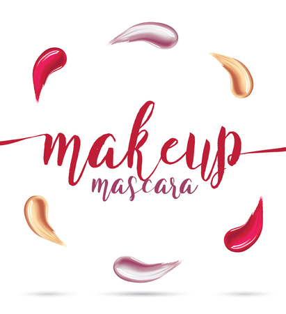 smeared: Different lipstick smears on white background. Beauty and cosmetics minimalist concept. elements for flyer, banner, leaflet. Template Vector. Illustration