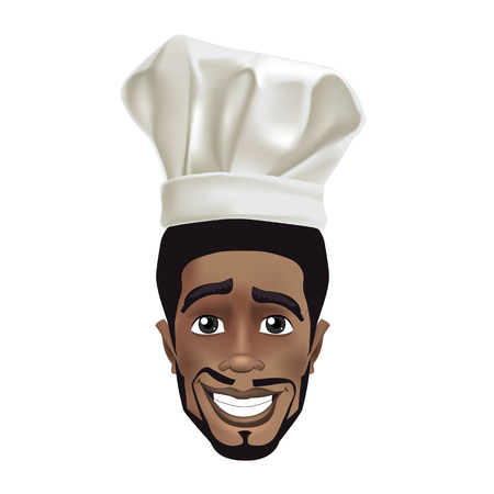 African men smiling chef. Black guy face avatar with smile and chefs hat