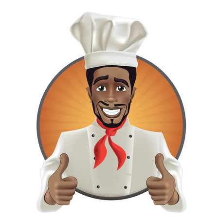 African men smiling chef. Black guy face avatar with smile, chefs hat and thumb up.
