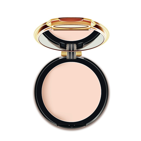 Face Cosmetic Makeup Powder in Black and gold Case with Mirror Top View.