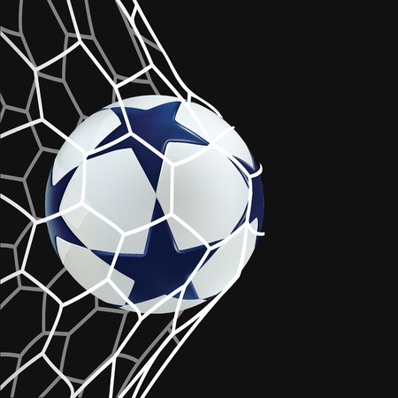 soccer field: 3D Soccer ball in net. Football ball with blue stars on black background.