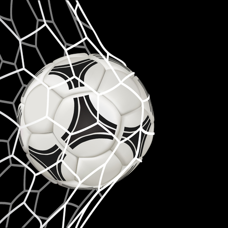 Realistic soccer ball in net isolated on black background. Illustration