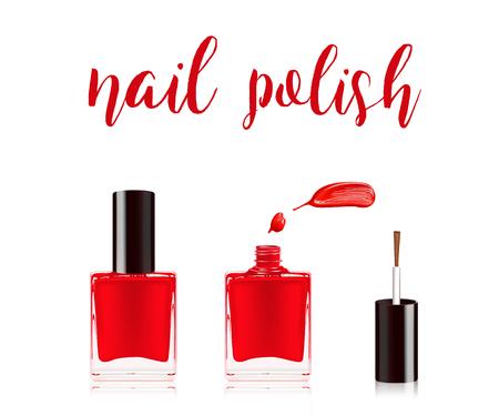 Rood nagellak in fles met het flessluitendeksel op bovenkant en spijkermeeringsdaling op witte achtergrond wordt geïsoleerd die. Vector illustratie.
