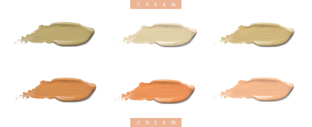 Cosmetic liquid cream foundation set in different colour smudge smear strokes. Make up splashes smears isolated on white background.