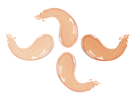 Cosmetic liquid foundation cream set in different colour smudge smear strokes. Make up smears