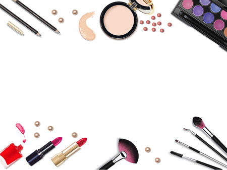 lip pencil: Top view of various make up accessories decorative cosmetics products. Workplace, cosmetics, lipstick, nail polish, mascara, face powder and eyeshadow on white background