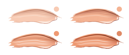 skin tones: Cosmetic liquid foundation cream set in different colour smudge smear strokes. Make up smears isolated on white background.