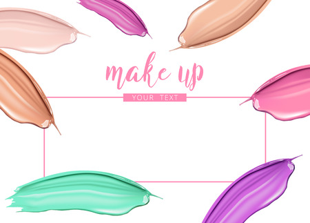Cosmetic liquid foundation and lipstick smudge smear cream strokes isolated on white background. Make up vector template.