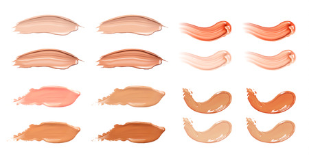 Set of cosmetic liquid foundation or caramel cream in different colour smudge smear strokes.