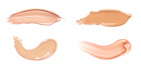 Set of cosmetic liquid foundation or caramel cream in different colour smudge smear strokes. Make up smears isolated on white background.