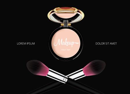 Stellen Sie kosmetische Make-upschablone des Pulvers mit Spiegel und Puder frech auf schwarzem Hintergrund gegenüber. Vektor