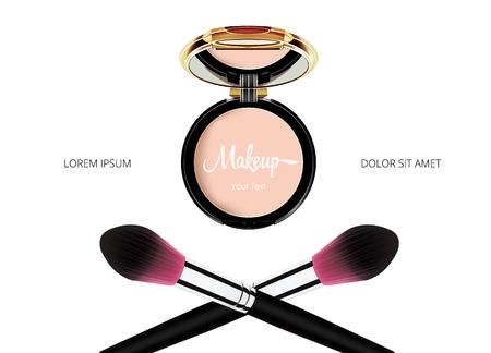 Stellen Sie kosmetische Make-upschablone des Pulvers mit Spiegel- und Puderscharfe auf weißem Hintergrund gegenüber. Vektor.