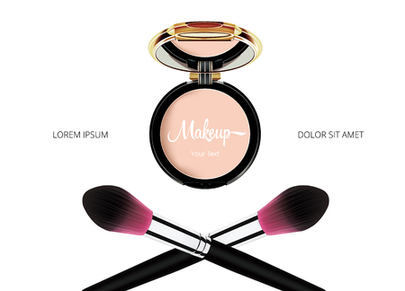 Face Cosmetic Makeup template of Powder with Mirror and powder brash on white Background. Vector.