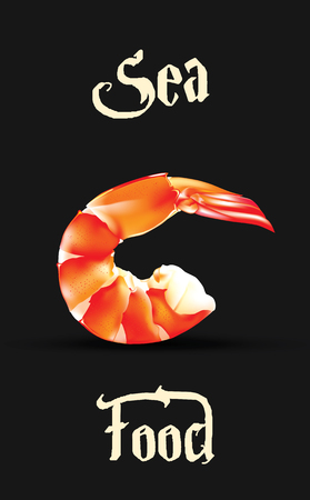 Vector Shrimp Seafood design template. Prawn illustration isolated on black background Illustration