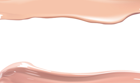 smudge: Cosmetic liquid foundation cream smudge smear strokes. Make up template smears isolated on white background.