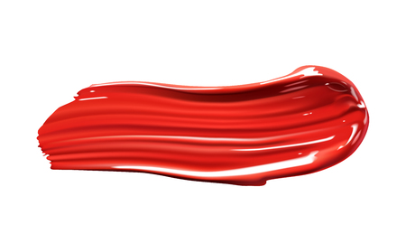 skin tones: Red paint stroke. Cosmetic liquid lipstick smear stroke. Make up smear isolated on white background.