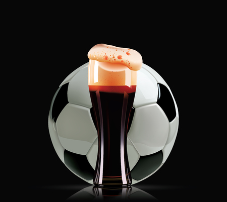 Elegant beer glass and soccer ball. Photo-realistic vector illustration of dark beer and football on black background.