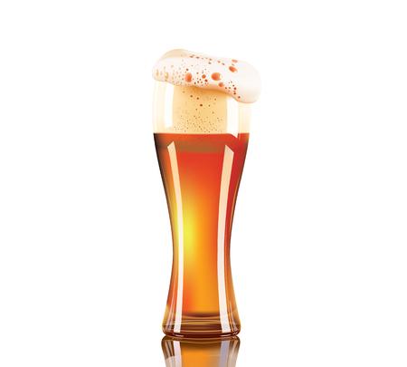 사실적인 맥주 유리 흰색 배경에 고립입니다.