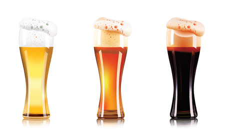Vector Set of different types of beer in glasses isolated on white background. Craft beer, dark beer and light beer. Ilustrace