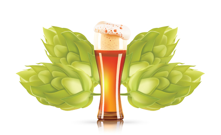 Hop plant and elegant glass of beer 3d vector icon isolated on white background. Hops beer photo-realistic vector illustration.