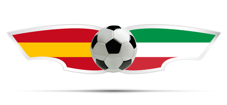 Realistic soccer ball or football on Itali and Spain flag background. Vector illustration.