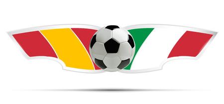 futbol soccer: Realistic soccer ball or football on Itali and Spain flag background. Vector illustration.