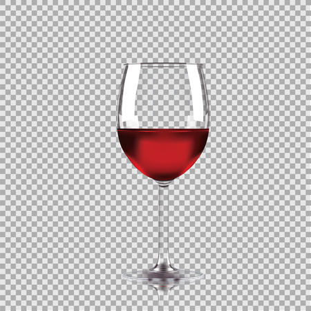 Wine glass with red wine.