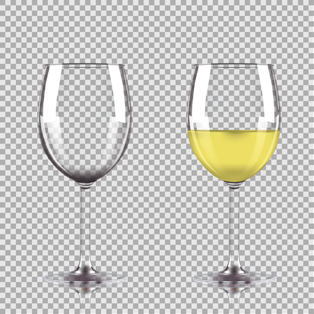 white wine: Glass of white wine and empty glass. Vector illustration isolated on transparent background.