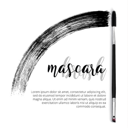 Vector make-up cosmetic mascara brush design concept with brush stroke. Realistic mascara brush template on white background with text.