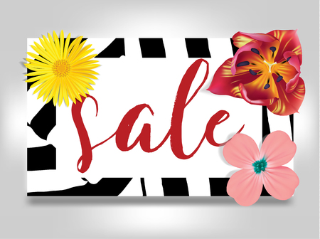 Sale banner with summer flowers, and zebra background vector illustration template. Flyer, invitation, posters, and more.