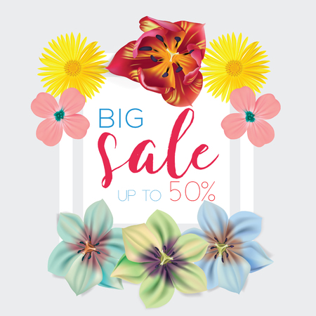 Big sale template with flowers pattern frame vector illustration. Banner, flyer, invitation, posters, brochure, voucher discount Advertising. Illustration