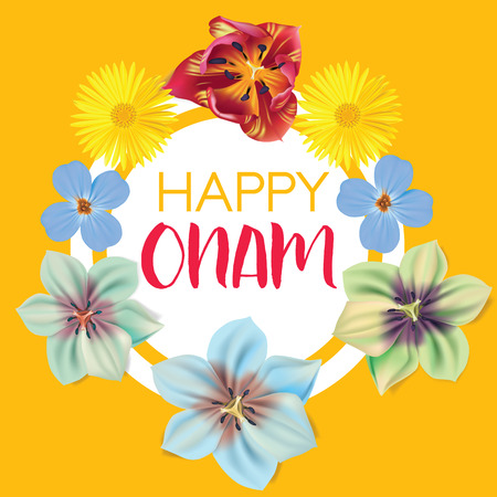 Happy Onam. Flower greetings for South Indian Festival Onam. Vector illustration Illustration