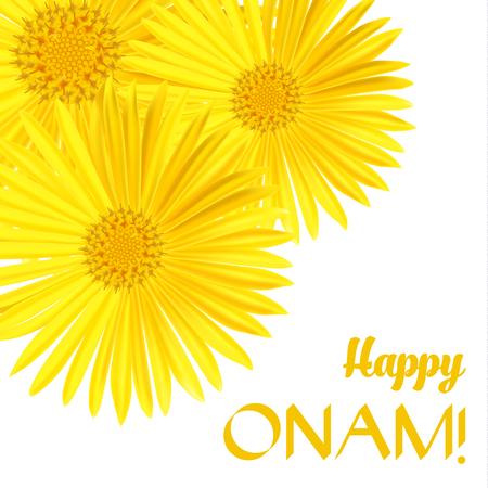 sravanmahotsav: Happy Onam. Flower greetings for South Indian Festival Onam. Vector illustration Illustration