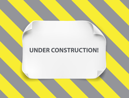 Hoja de papel realista blanco con esquinas curvas y suave sombra en la construcción de fondo gris amarillo. En banner web de construcción. Marco de papel para texto