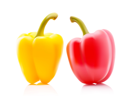 bell peper: Two Colored Yellow and Red Sweet Bulgarian Bell Peppers, Paprika Isolated on White Background Stock Photo
