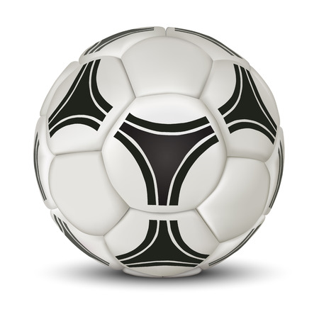 Realistic soccer ball isolated on white background. Classic old football ball. Stock Photo
