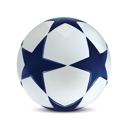 Soccer ball. Football ball with blue stars on background.