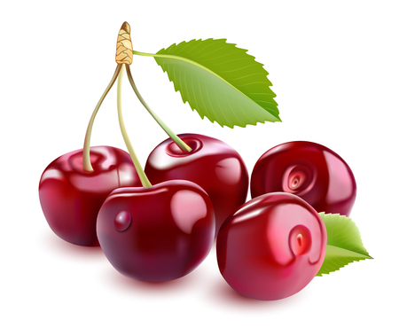 photorealistic: Sweet  3D Realistic Cherry, isolated on white background Stock Photo