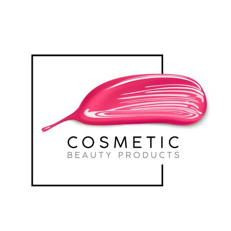 Plantilla de diseño de maquillaje con lugar para el texto. Concepto de logotipo cosmético de esmalte de uñas líquido y frotis de lápiz labial.