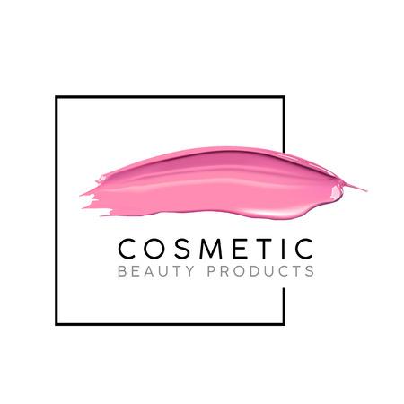 Modello di disegno di trucco con posto per il testo. Concetto cosmetico Logo di smalto di liquido e rotture di rossetto macchie. Logo