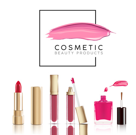 Beautiful cosmetic set in gold. lipstick, lip gloss and nail polish with smear. Makeup realistic cosmetic vector isolated on white.