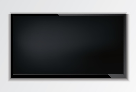 Led tv hanging on the wall background.