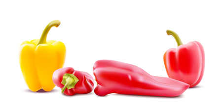 Different sorts of hot peppers in all colors, shapes and sizes. Chilly peper icons. Vector Illustrations.
