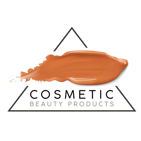 Makeup design template with place for text. Cosmetic Logo concept of liquid foundation and lipstick smear strokes.