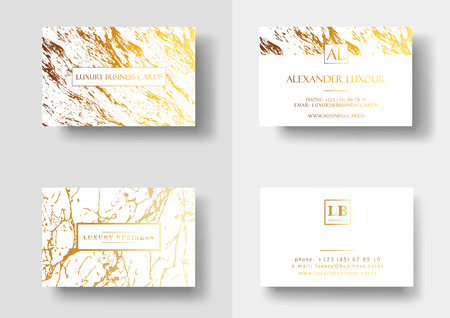 Elegant business cards with marble texture and gold detail vector template, banner or invitation with golden foil details on white background. Branding and identity graphic design Illustration