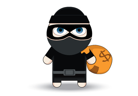 Thief Flat character design. Bandit with big bag. Robber in mask. Cartoon Vector Illustration. Thief in a mask sneaking with a sack