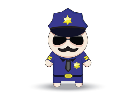 Funny cop with sunglasses and mustache. Police officer cartoon character.