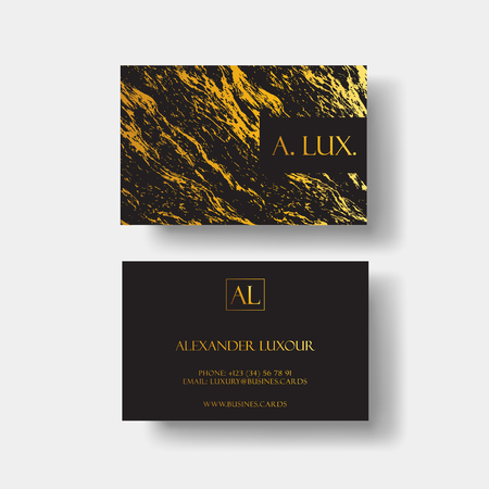 Elegant black luxury business cards with marble texture and gold detail vector template, banner or invitation with golden foil details. Branding and identity graphic design