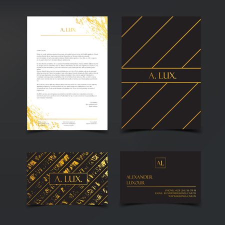 Luxury branding and Corporate Identity Template. Fashion Elegant Black luxury business cards with marble texture and gold letterhead. Banner or invitation design.